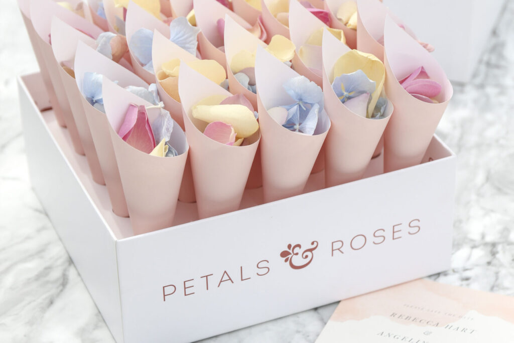Petals & Roses Confetti Cone Box with Pink cones and Summer Mix