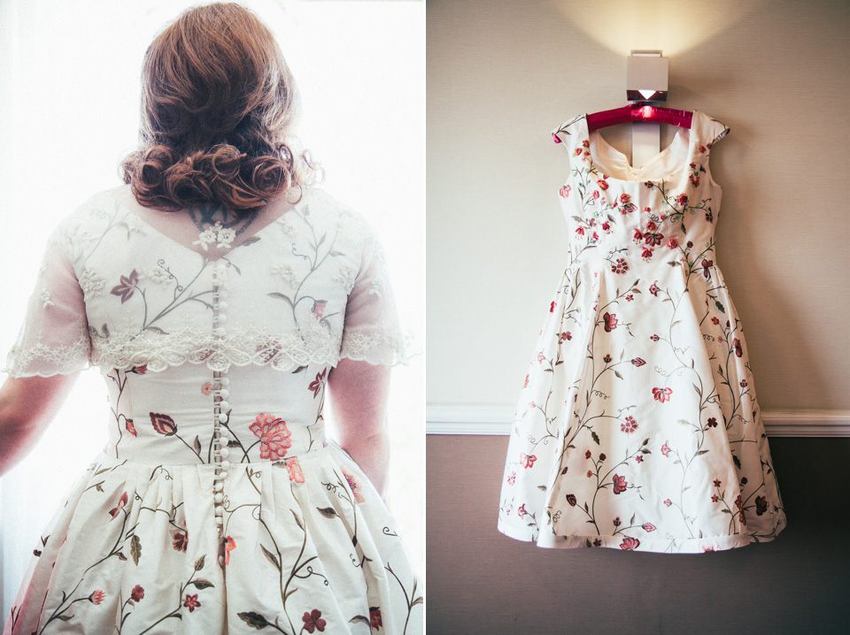 A 50's, Floral Style Wedding Dress For A Retro Inspired