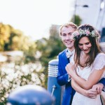 An Edwardian Inspired Gown and Floral Crown for a Relaxed City Wedding