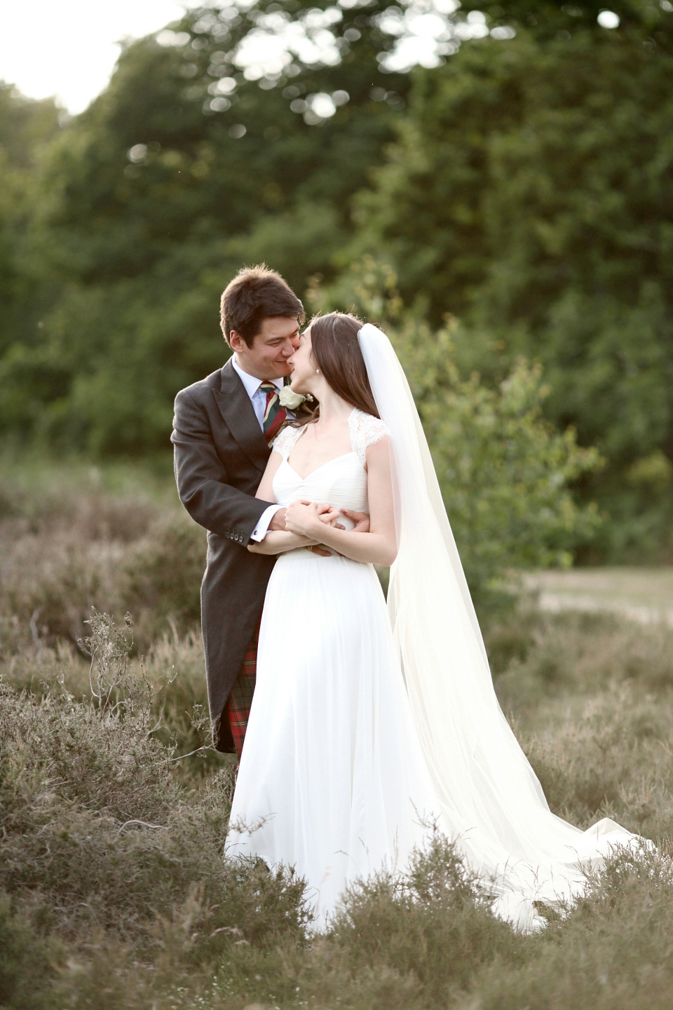A Suzanne Neville Gown For Romantic, Countryside Wedding in