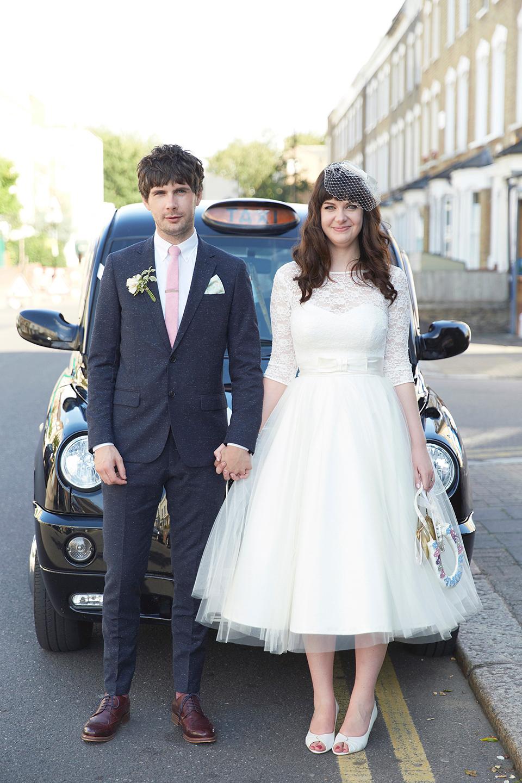 A 50 S Inspired Tea Length Dress For A Pastel Colour London Pub