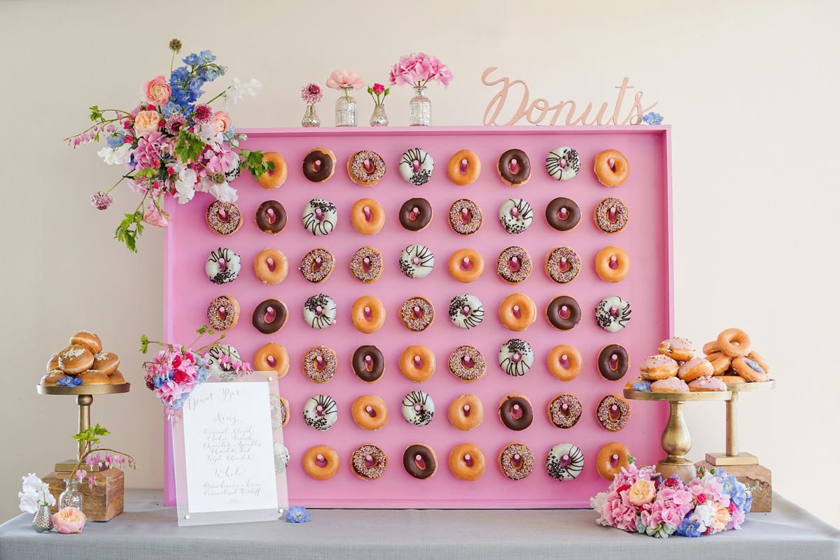 Donut walls and Liquid Nitrogen Ice cream bars! Kalm Kitchen are a brilliant catering company that we recommend through our littlebookforbrides.com. Here they demonstrate some of their creative catering ideas.