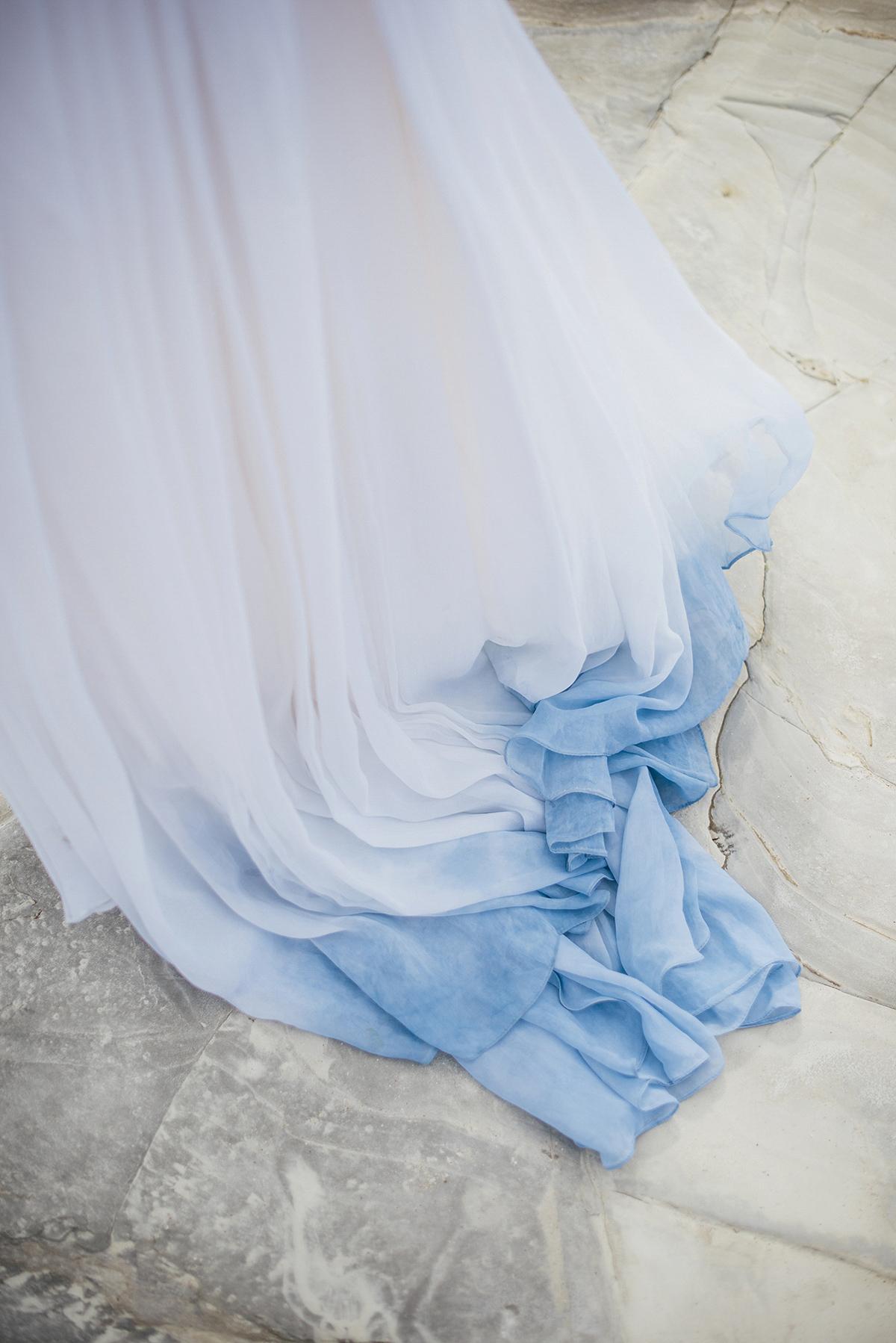 A Beautiful Blue Ombre Wedding Dress For A Barefoot Beach Wedding