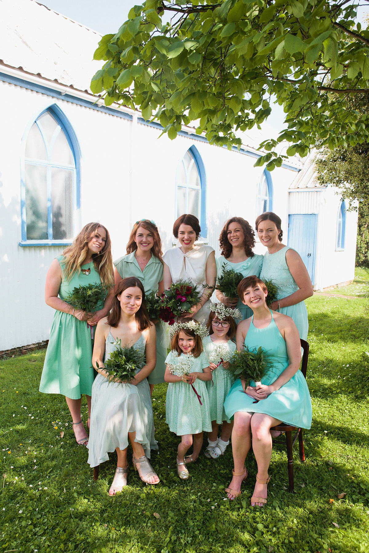 Green Dresses Group of People