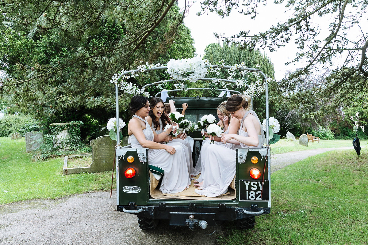Bride Sophie wore an Amanda Wakeley gown for her fuss-free, stylish, military wedding in the Suffolk countryside. Photography by Nick Tucker.
