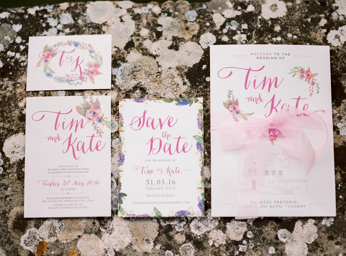 Tuscan Themed Wedding Invitations: A Ballerina-Length Dress For A Romantic And Rural Tuscan