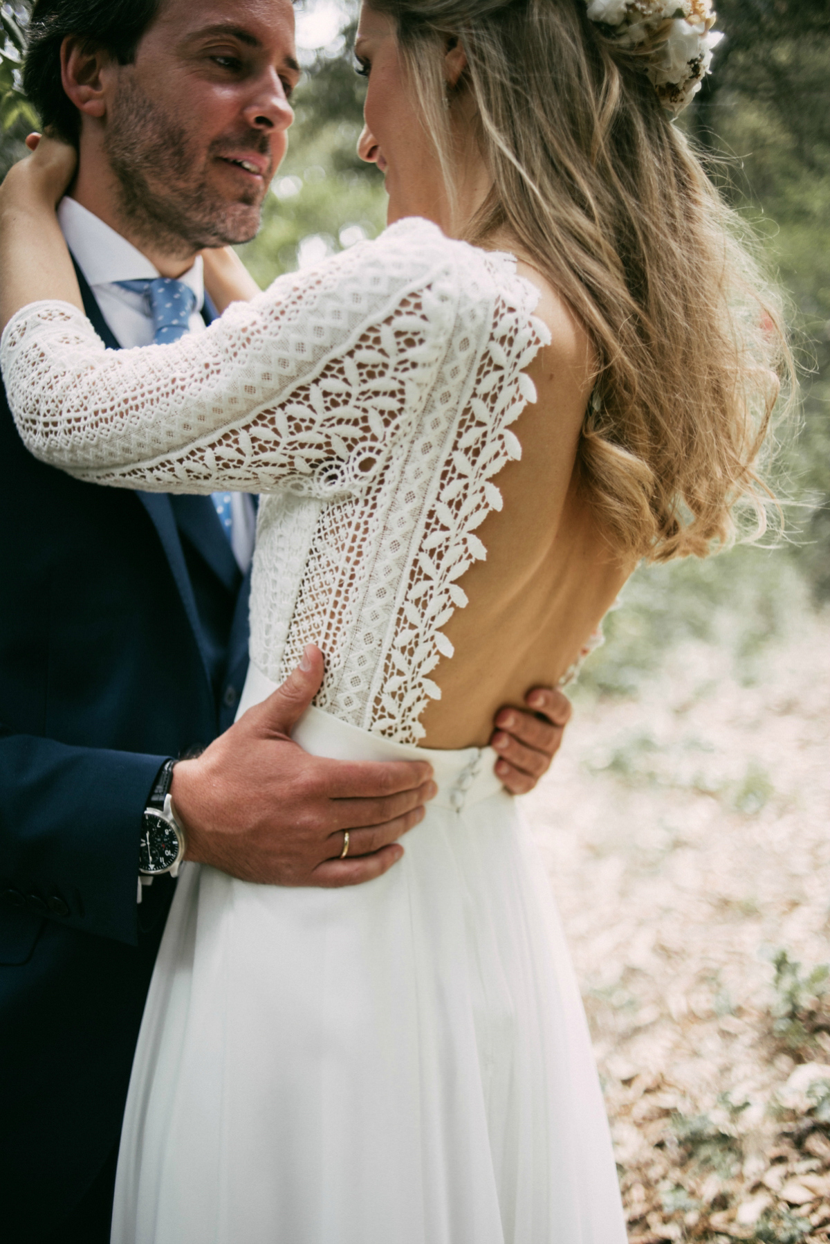 Wpid Rustic Woodland Wedding Spain A Bohemian Backless Gown For In