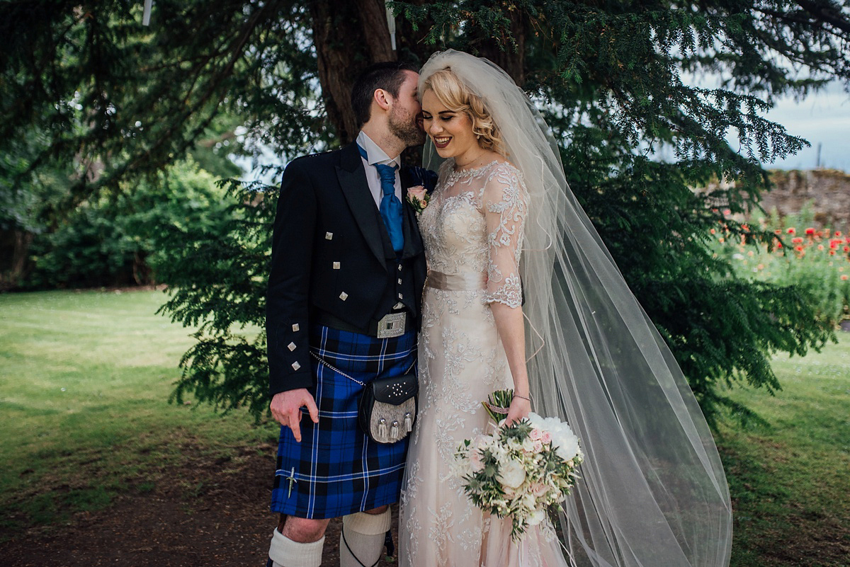 A Bride In Maggie Sottero For An American And Scottish Travel