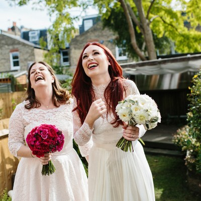 Candy Anthony and Catherine Deane for Two Brides and Their Gastro Pub Wedding