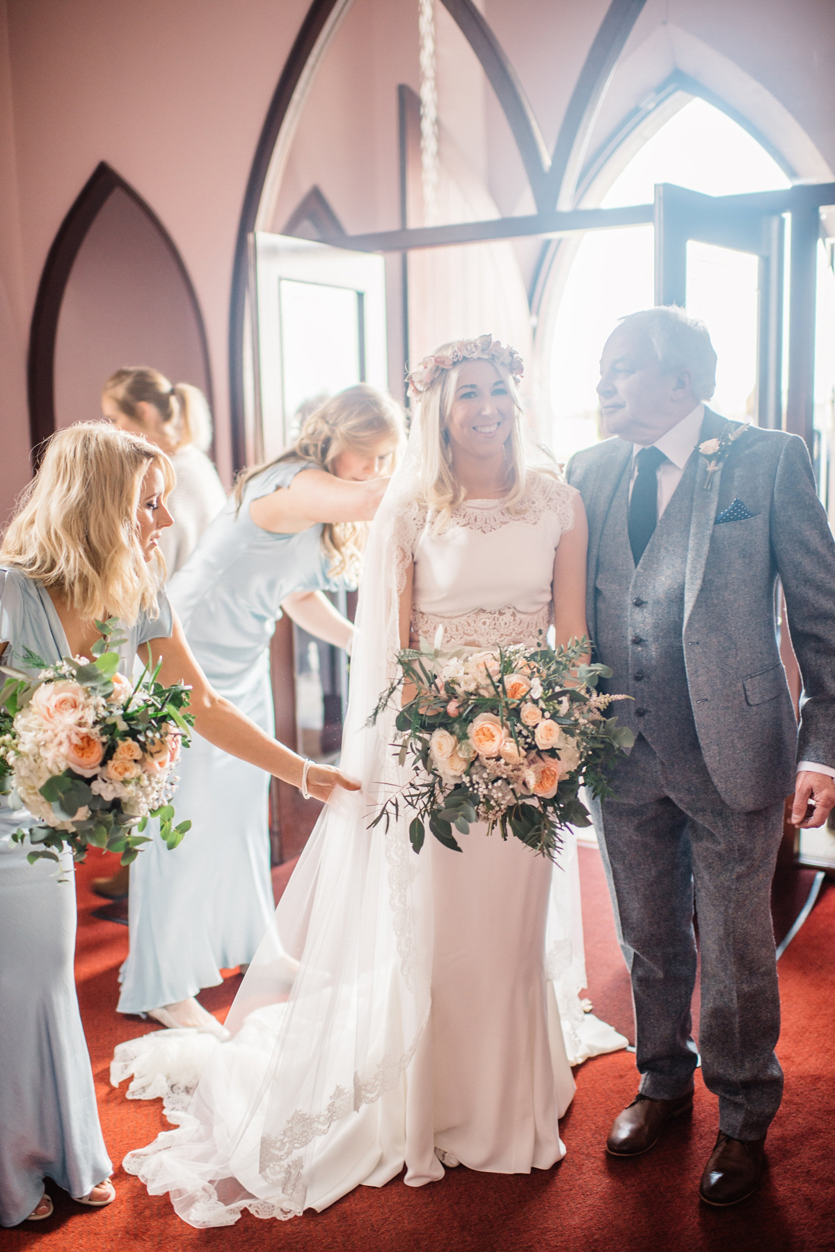 Bride Heidi wears Rime Arodaky separates for her French wedding in Ireland. Kat Mervyn Photography.