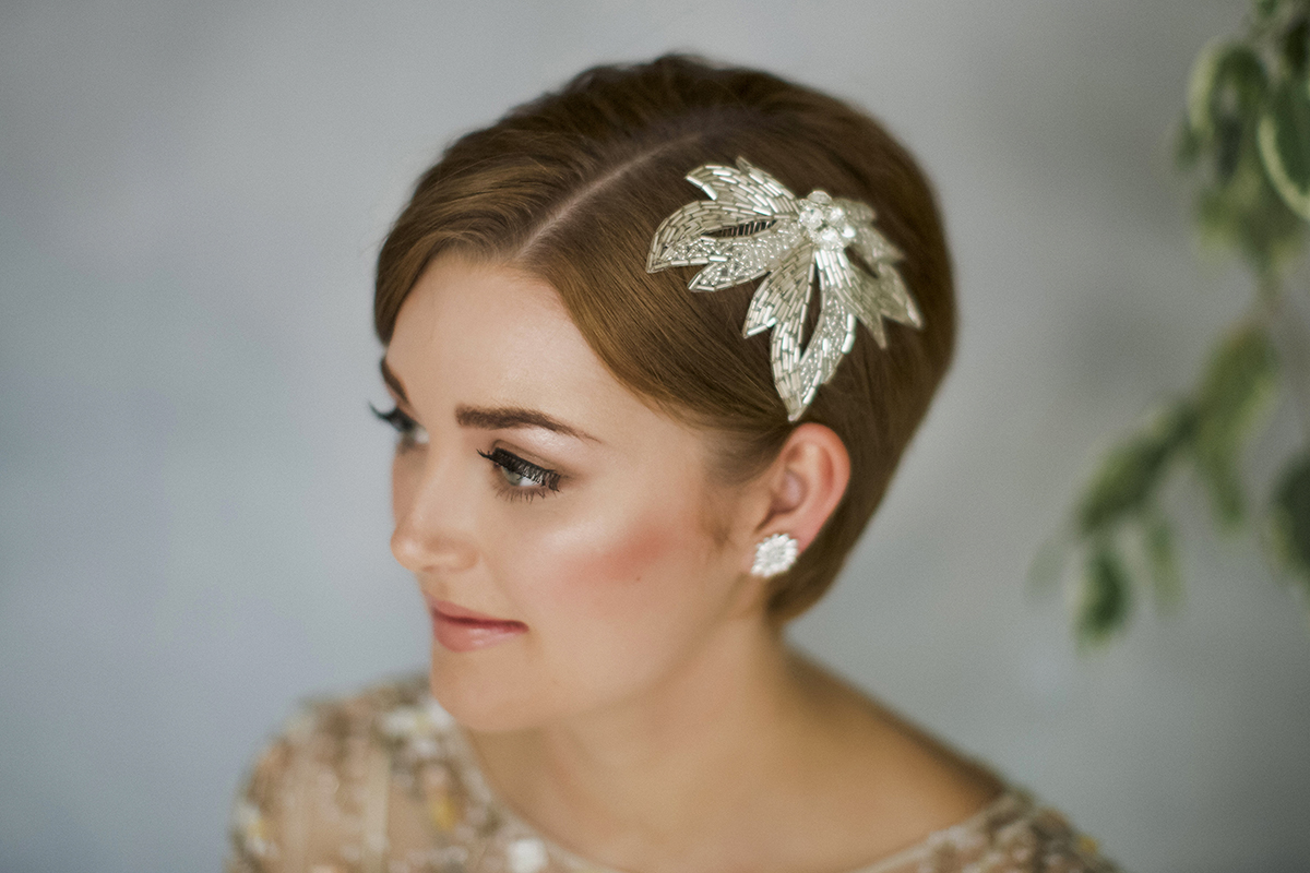 1ca5ace9da222 How To Style Wedding Hair Accessories With Short Hair