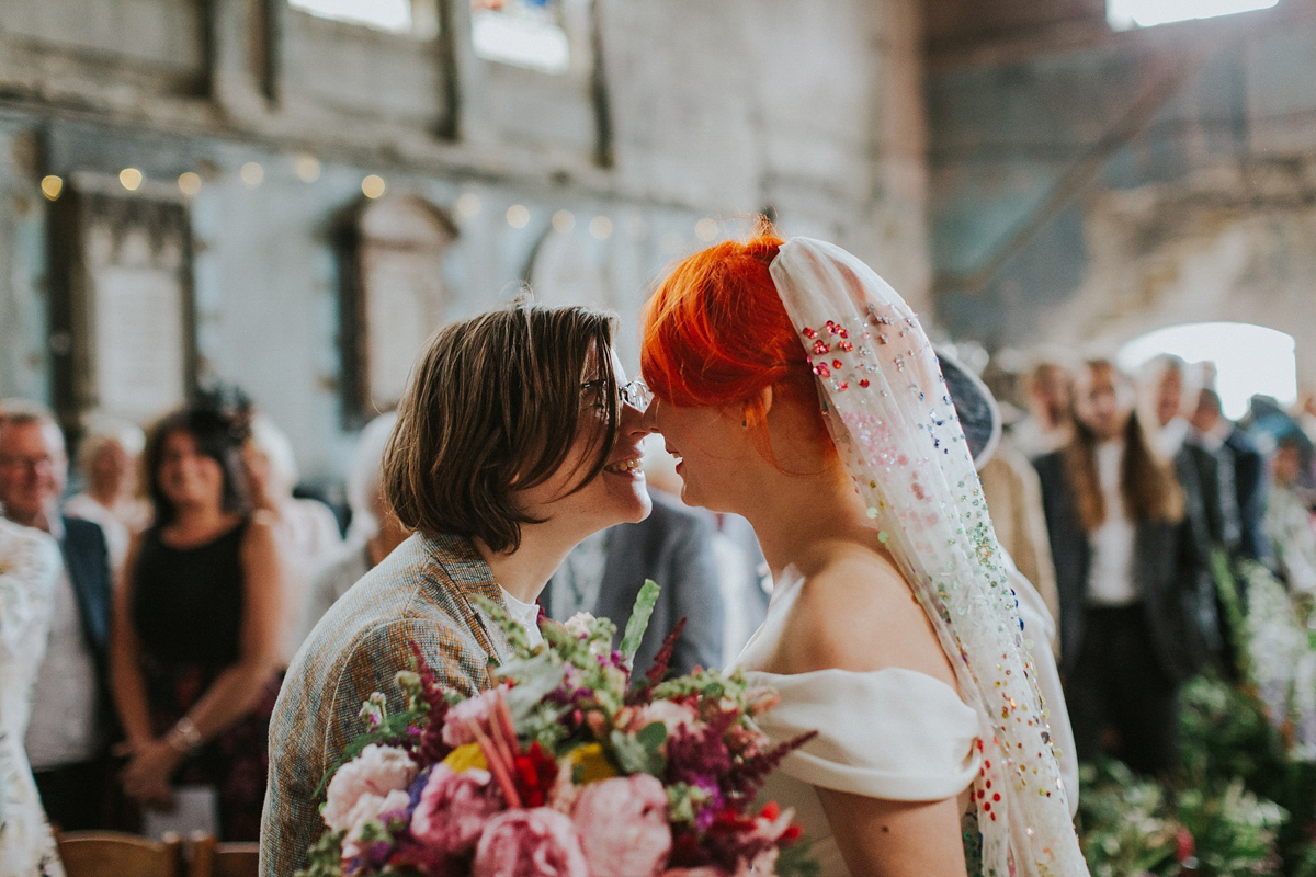 Colourful Alternative Same Wedding A Sequin Veil For Fabulously And Quirky An