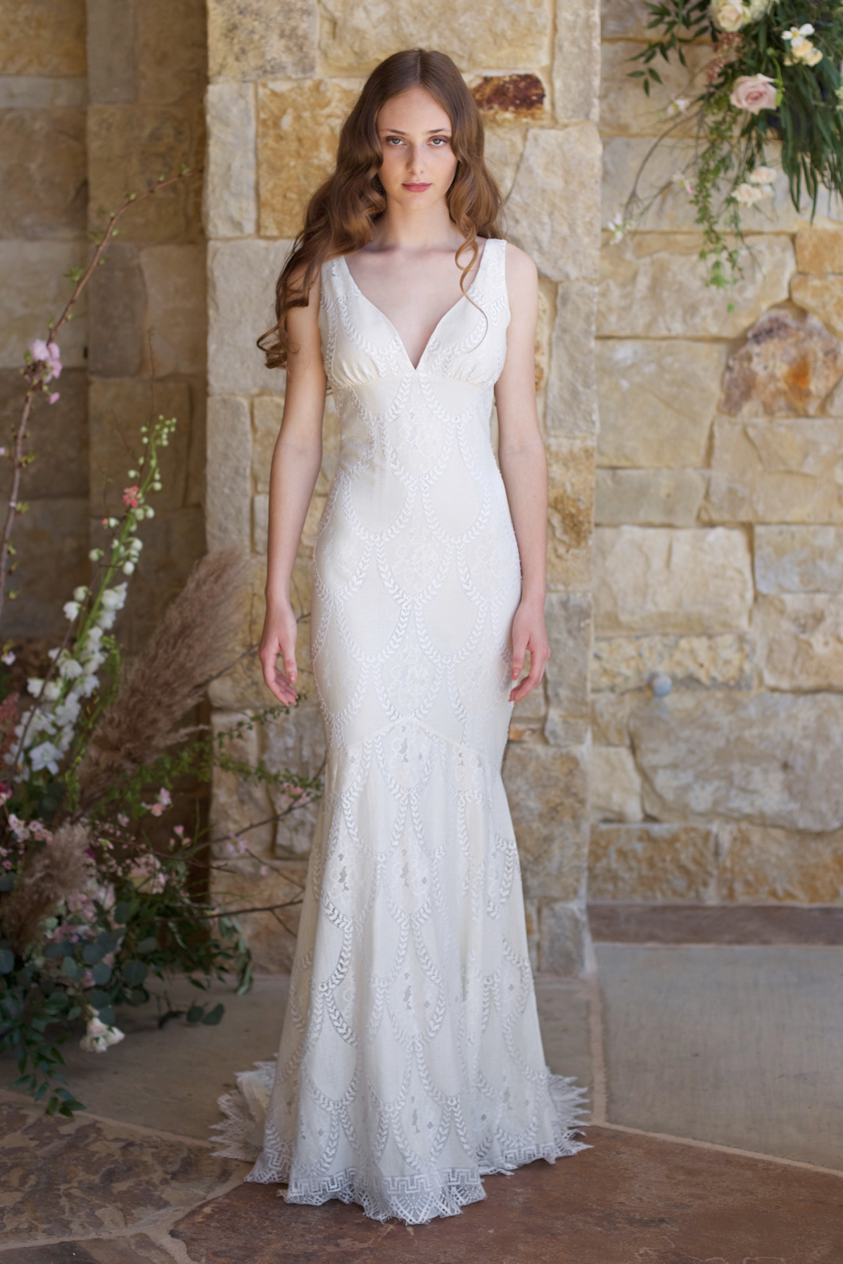 4ae3f70425f0 Toscana - Ecru scallop pattern lace mermaid silhouette with dramatic  scalloped hem and train, and open V back. Lined in Ivory as shown.