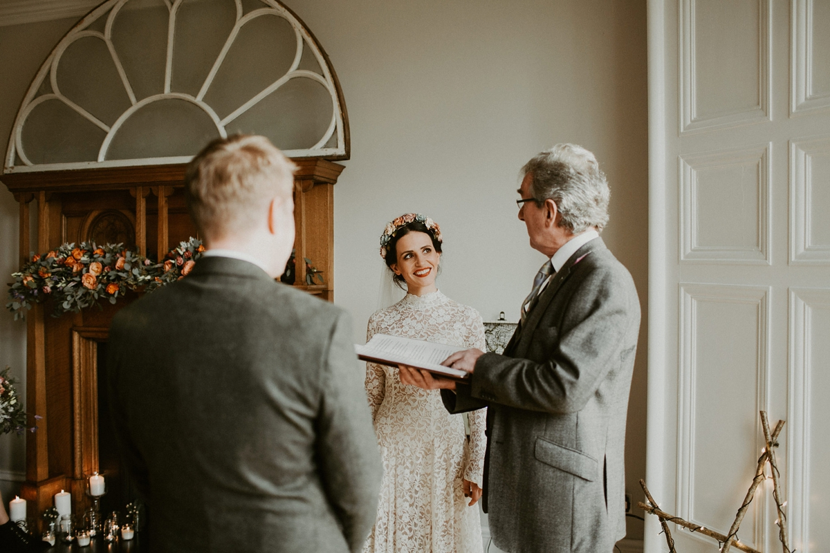 A First Look And Humanist Ceremony At Home For Vintage Bride S Intimate Winter Wedding
