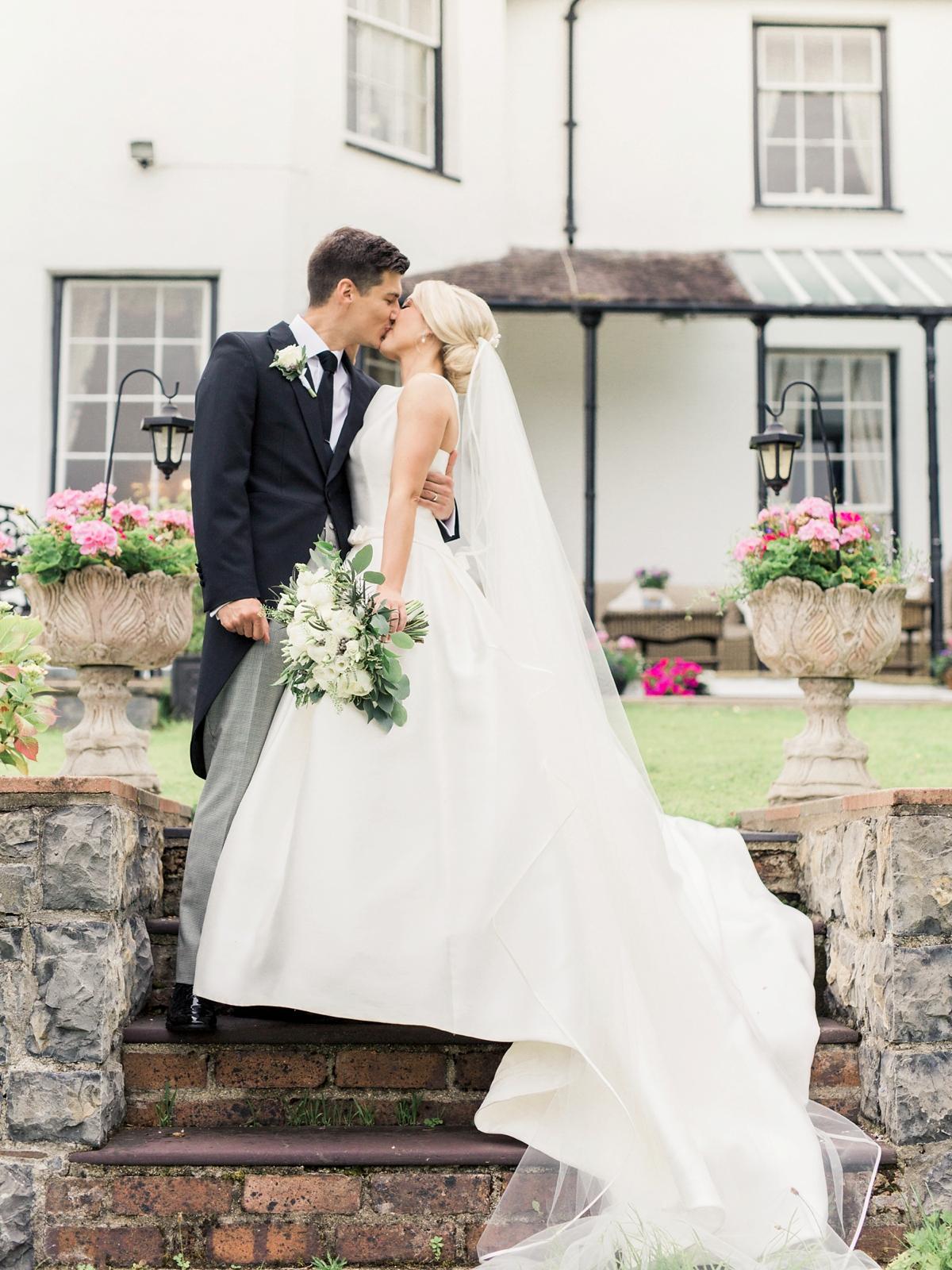pronovias audrey bride classic elegant english wedding  - Audrey Hepburn Inspired Elegance for a Classy and Modern Wedding in Neutral Shades