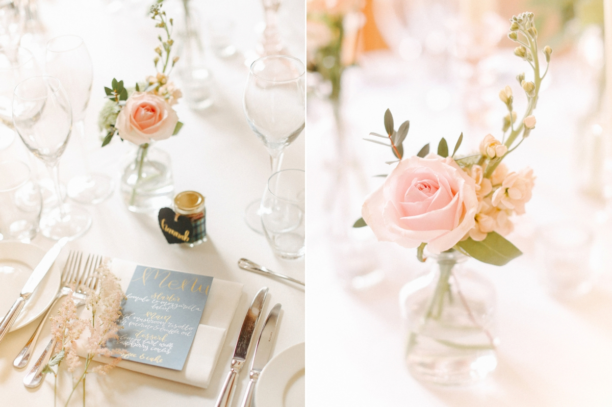 Single stem pink rose wedding table decor - A Caroline Castigliano Gown for a Chic and Classic Manor House Wedding in Shades of Peach