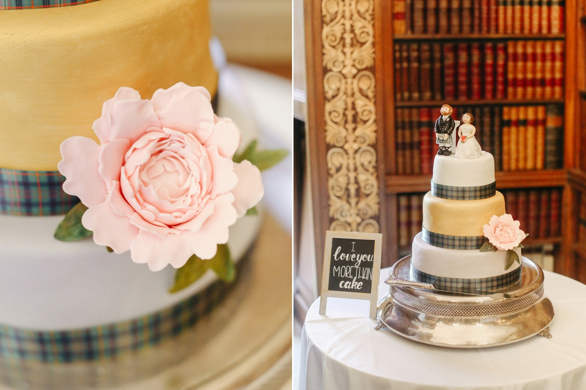 Wedding cake with groom in a kilt cake topper - A Caroline Castigliano Gown for a Chic and Classic Manor House Wedding in Shades of Peach