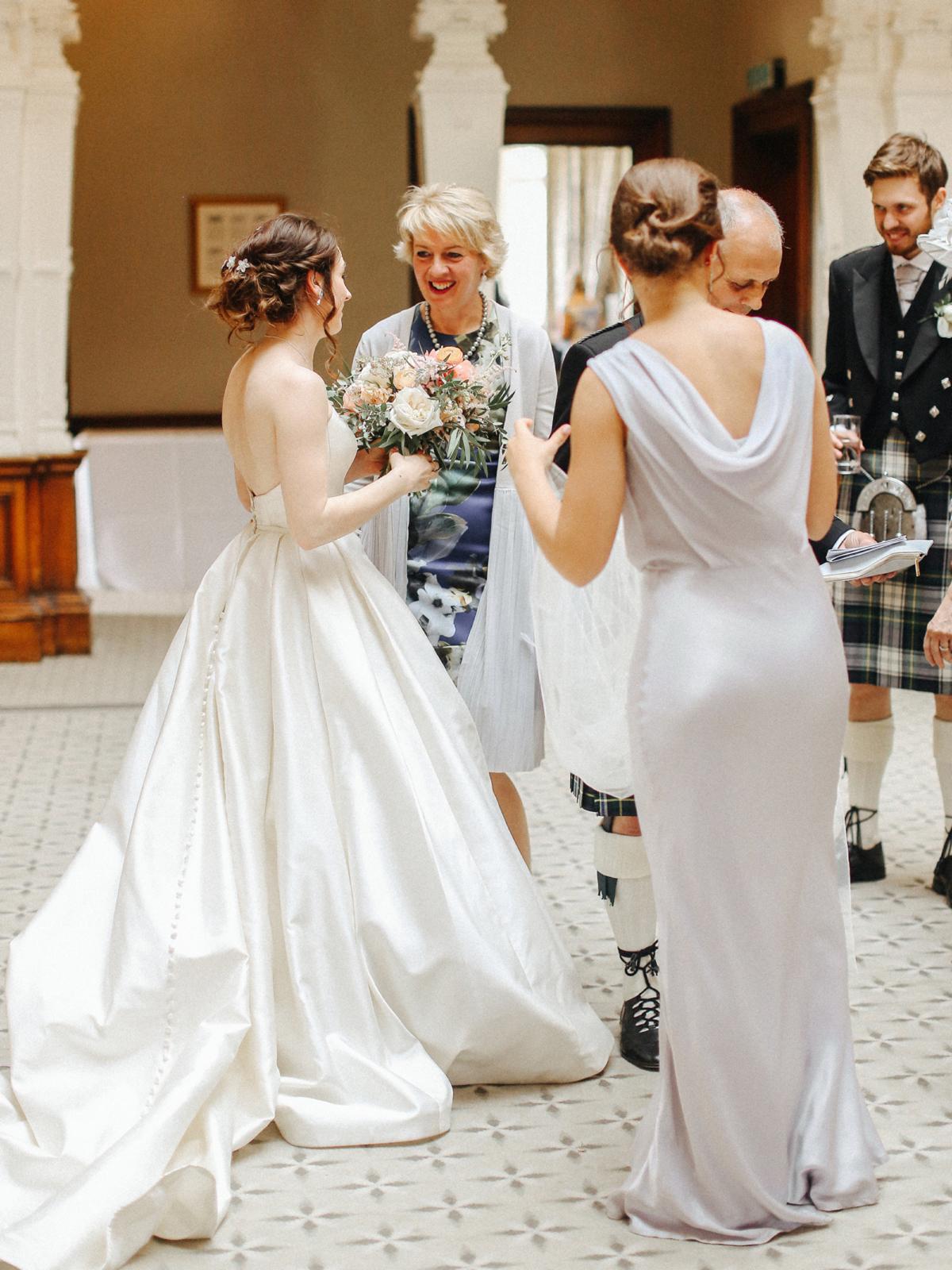 A Caroline Castigliano gown for an elegant peach Manor House wedding - A Caroline Castigliano Gown for a Chic and Classic Manor House Wedding in Shades of Peach