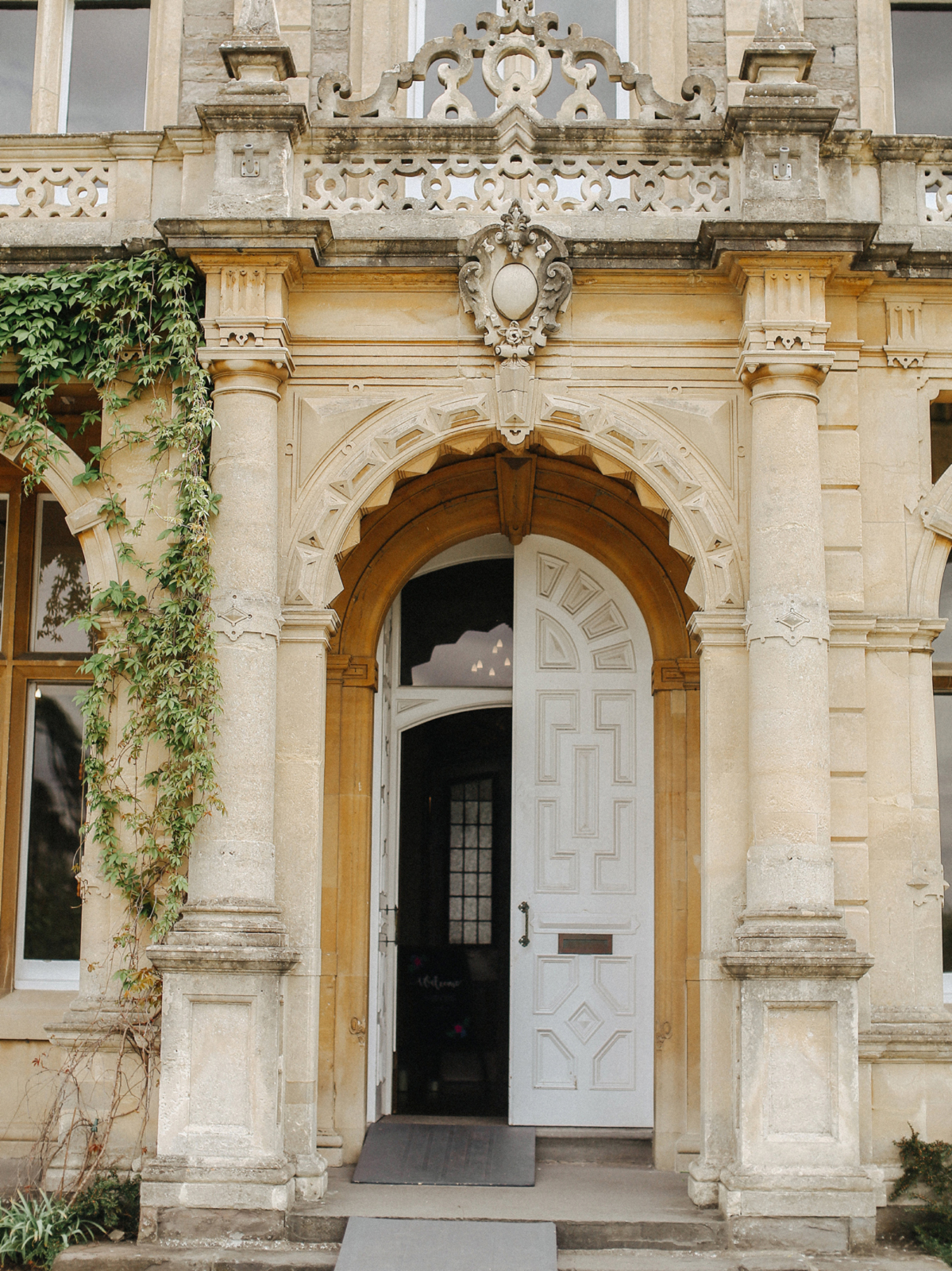 Clevedon Hall wedding venue in Somerset - A Caroline Castigliano Gown for a Chic and Classic Manor House Wedding in Shades of Peach