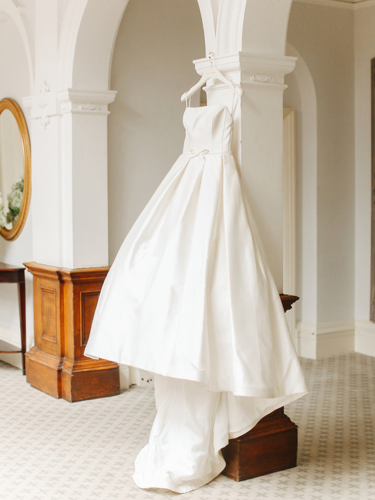 Strapless Caroline Castigliano gown with full skirt - A Caroline Castigliano Gown for a Chic and Classic Manor House Wedding in Shades of Peach