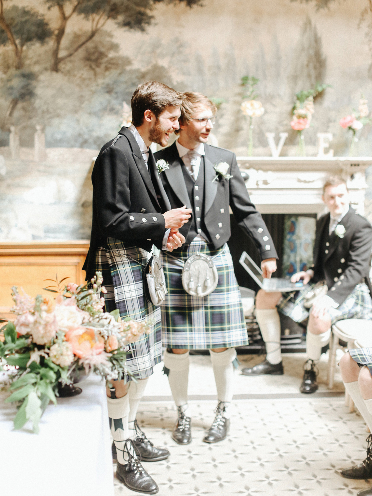 Groom and best man in green tartan kilts - A Caroline Castigliano Gown for a Chic and Classic Manor House Wedding in Shades of Peach