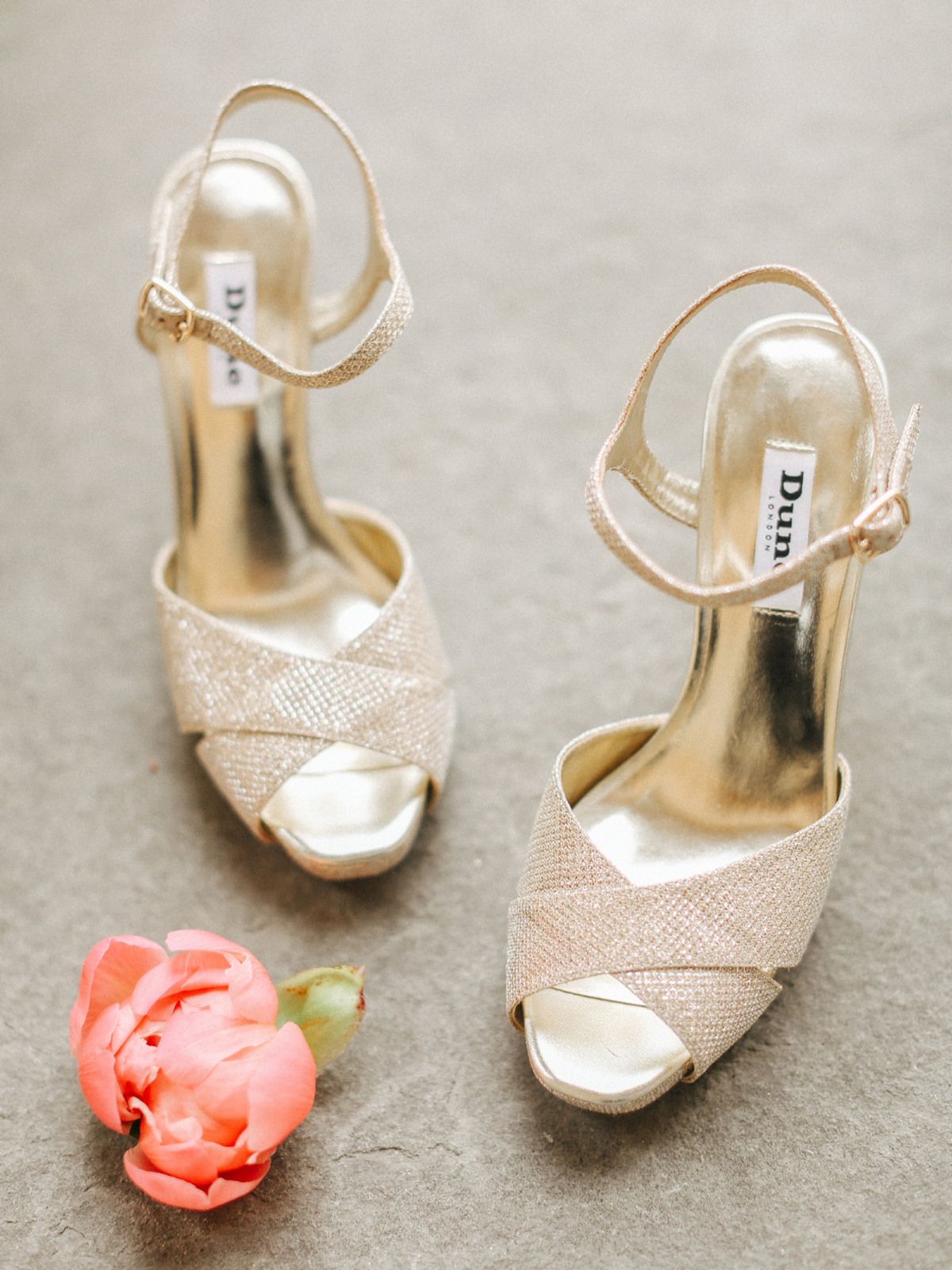 Dune open toe gold high heel wedding shoes - A Caroline Castigliano Gown for a Chic and Classic Manor House Wedding in Shades of Peach