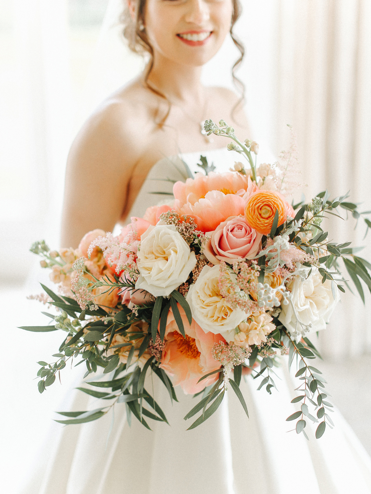 Oversized peach wedding bouquet - A Caroline Castigliano Gown for a Chic and Classic Manor House Wedding in Shades of Peach