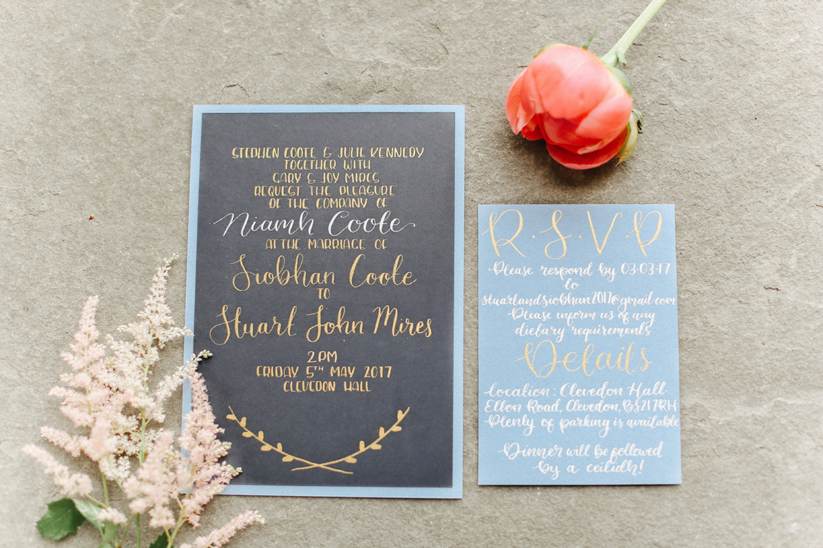 Gold ink on blue paper wedding stationery - A Caroline Castigliano Gown for a Chic and Classic Manor House Wedding in Shades of Peach
