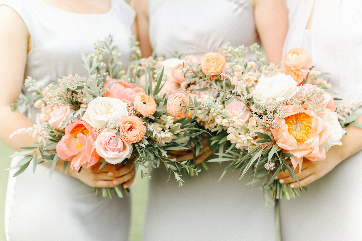 Peach bridal party bouquets - A Caroline Castigliano Gown for a Chic and Classic Manor House Wedding in Shades of Peach