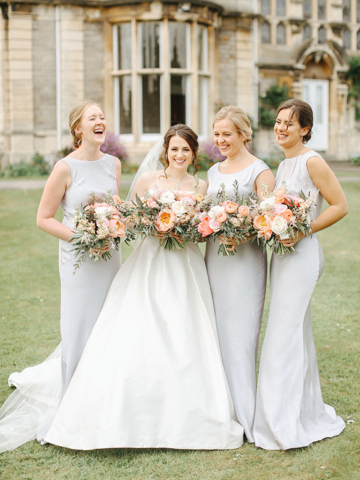 Ghost bridesmaids dresses in pale slate grey - A Caroline Castigliano Gown for a Chic and Classic Manor House Wedding in Shades of Peach