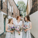 An Eliza Jane Howell gown for a vintage style barn wedding inspired by Brambly Hedge