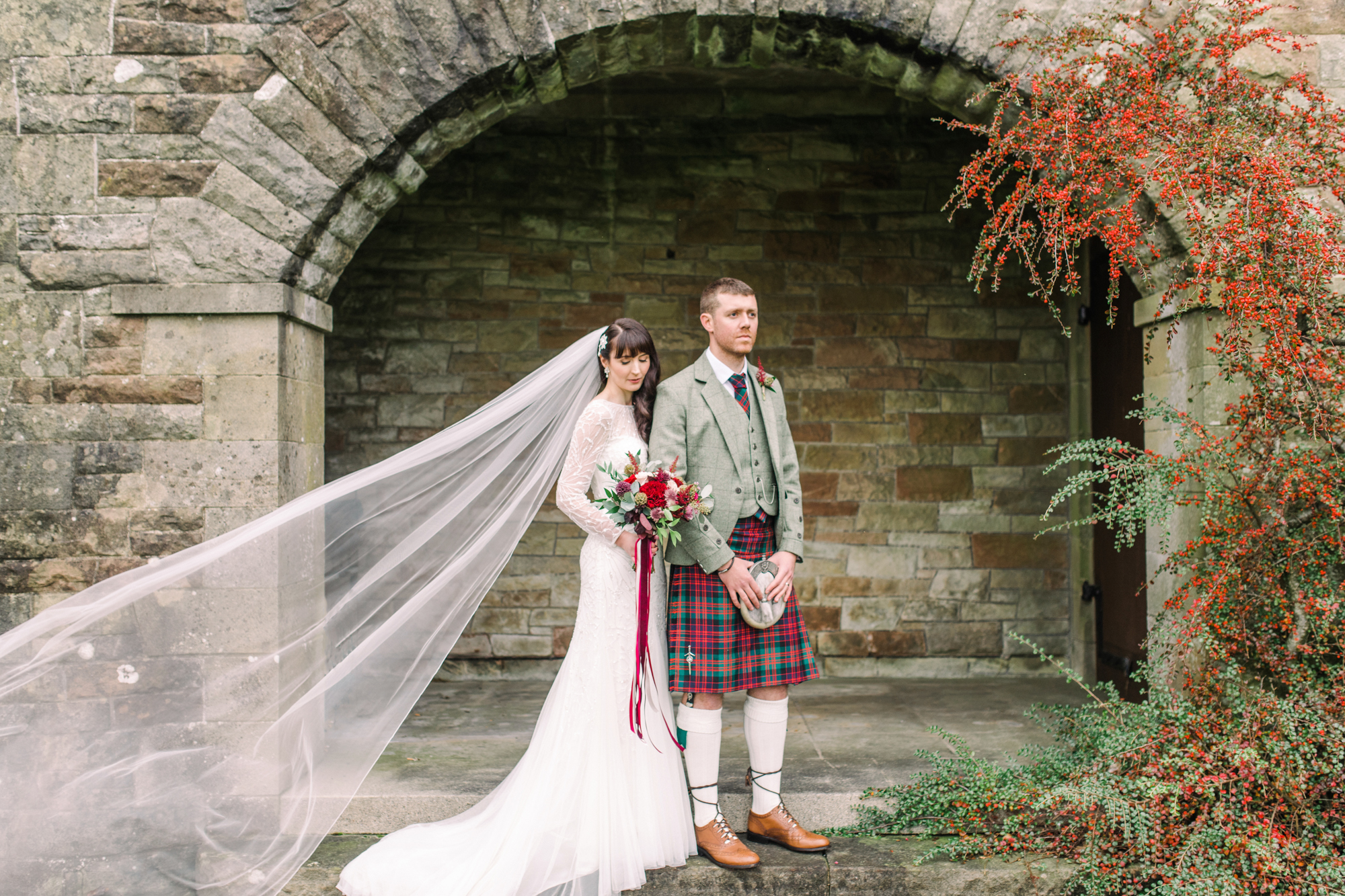 ff90efce601 A Rosa Clara Gown for a Scottish Castle Wedding in the Autumn