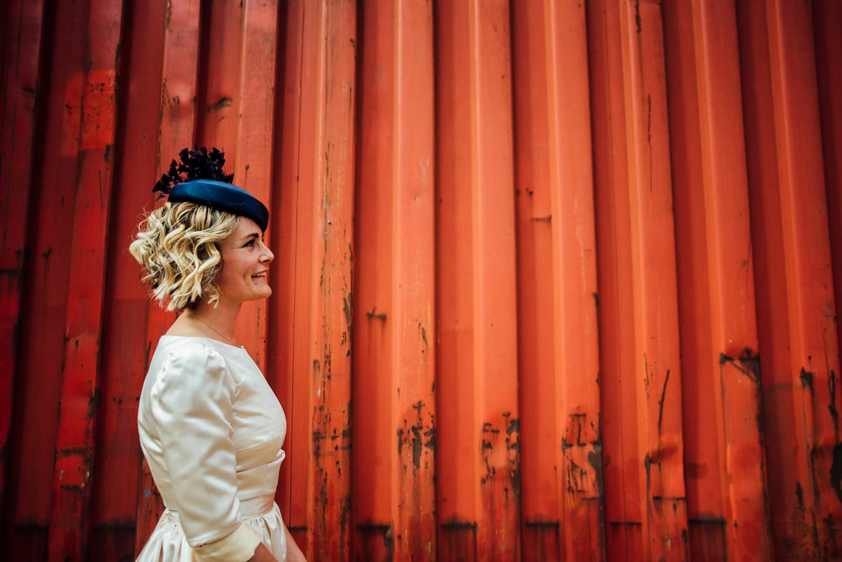 ef516f64 ... A s dress and pillbox hat for a Trinity Buoy Wharf Wedding in London -  Street