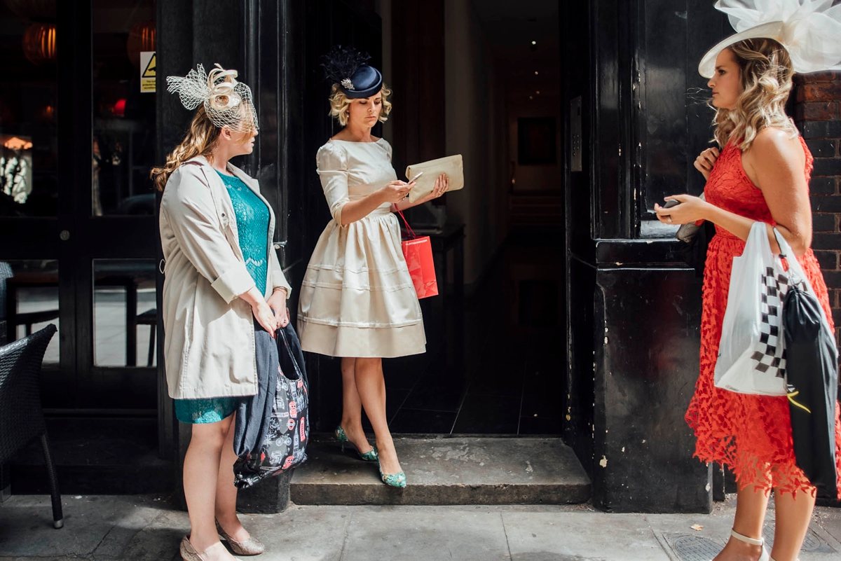 00d346311fa04 A s dress and pillbox hat for a Trinity Buoy Wharf Wedding in London -  Street. ""