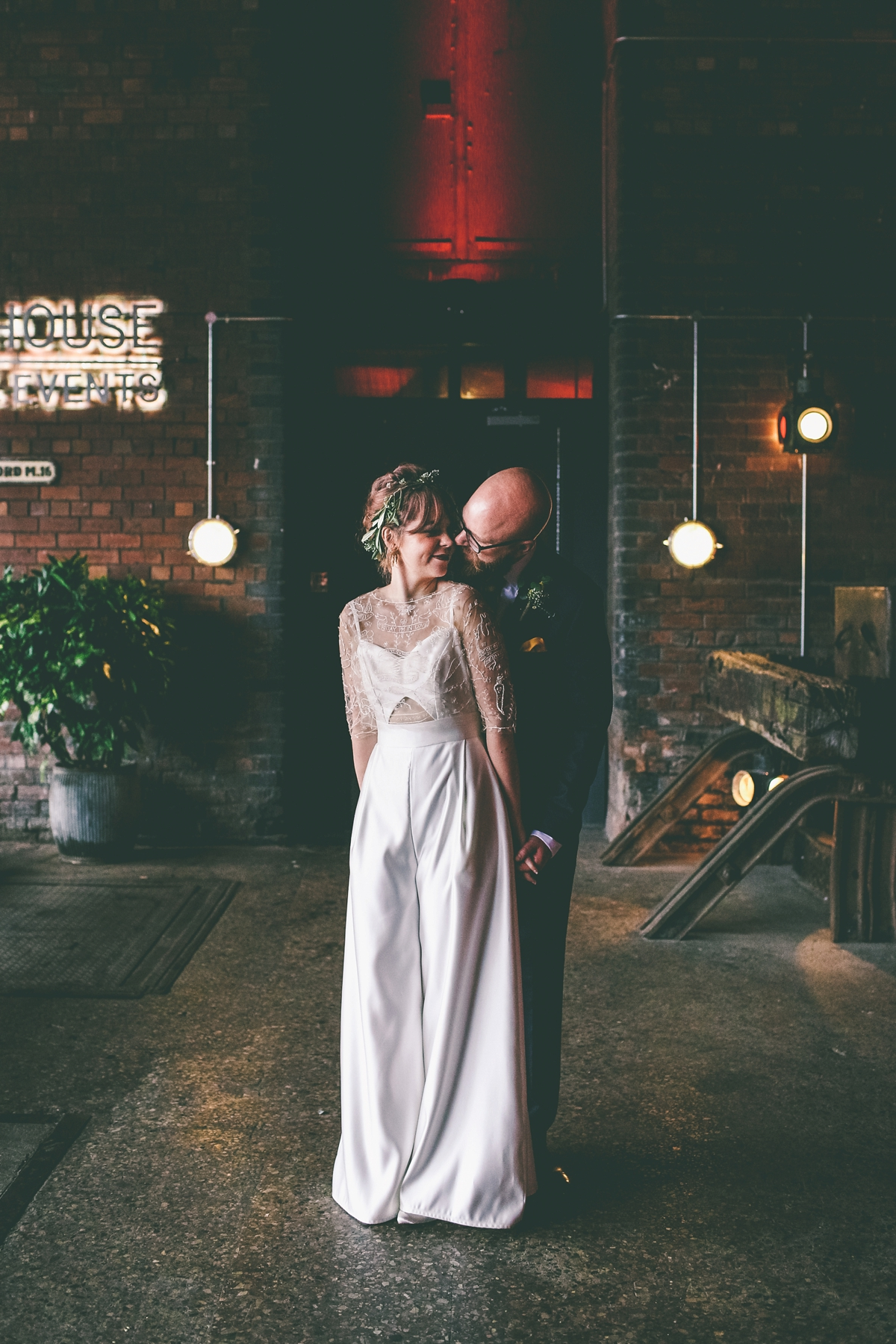 ff2072b9dfb85 A bride in a selfmade jumpsuit for her industrial warehouse wedding in  Manchester - A Bride
