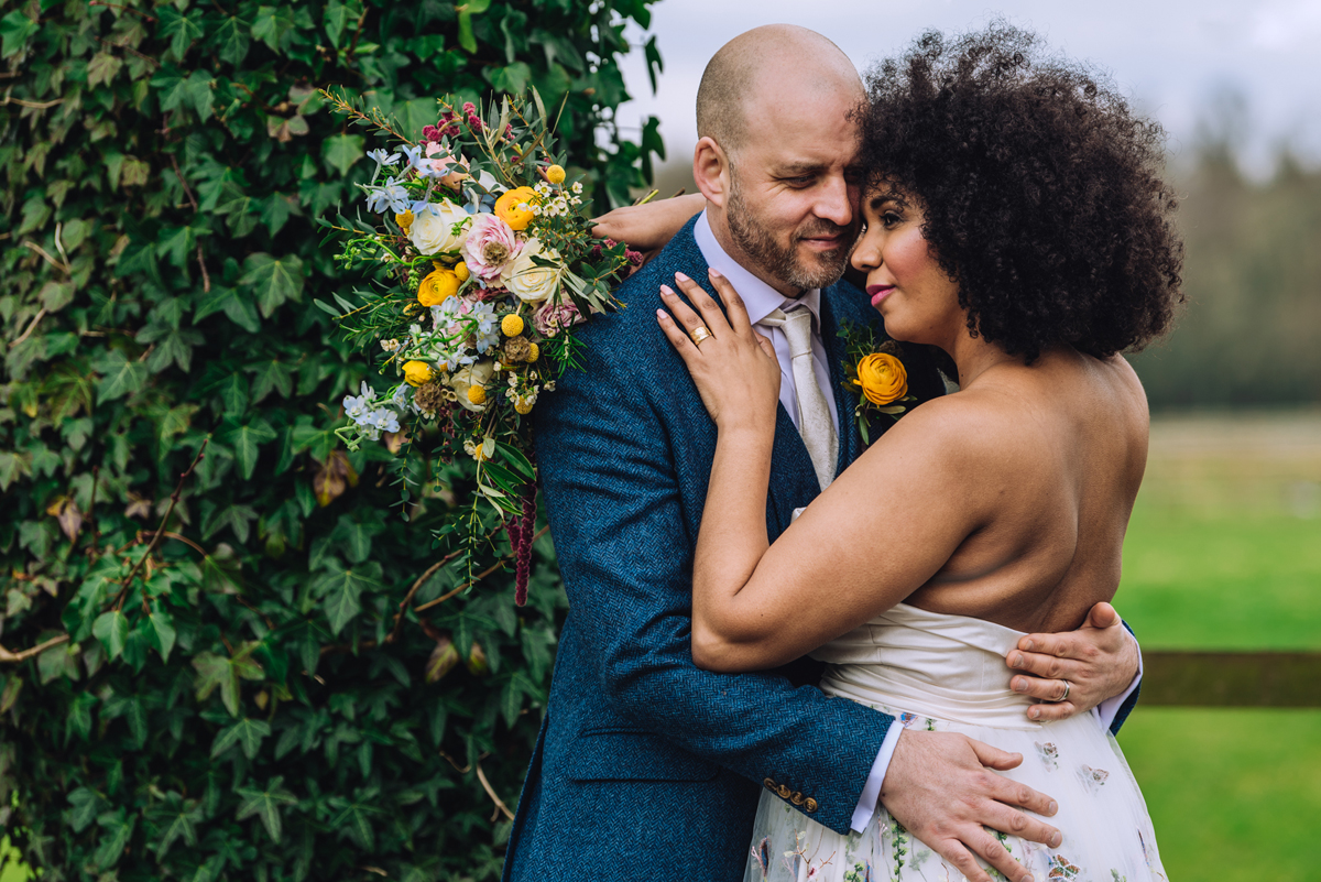 Floral wedding dress and blue and yellow wedding decor inspriation - Celebrating Diversity, Natural Beauty and a Gorgeous Floral Wedding Dress