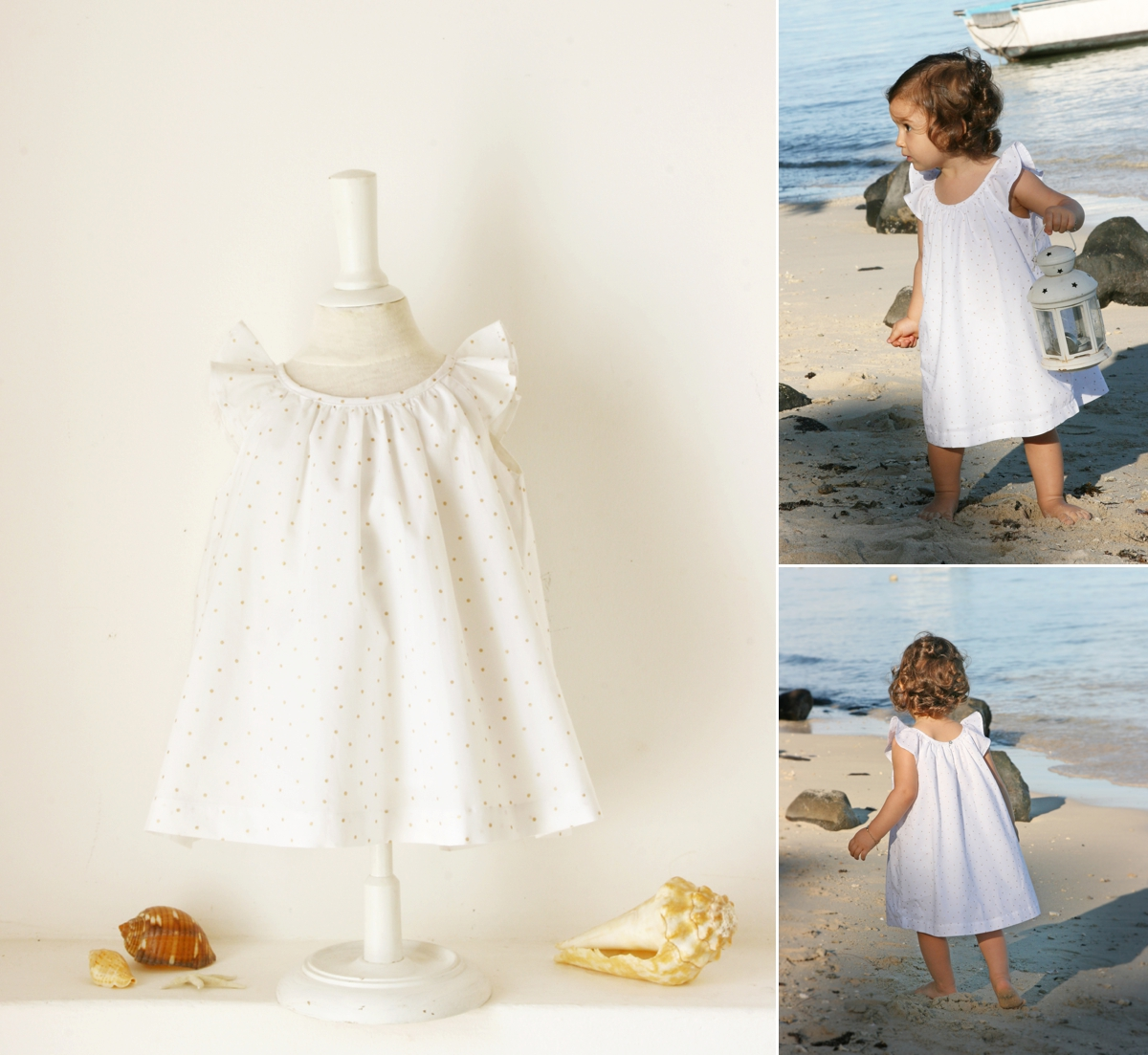 7bbbfa391c75 baby cotton dress with golden dots Little eglantine - Stylish Outfits for  Children at Weddings by. ""