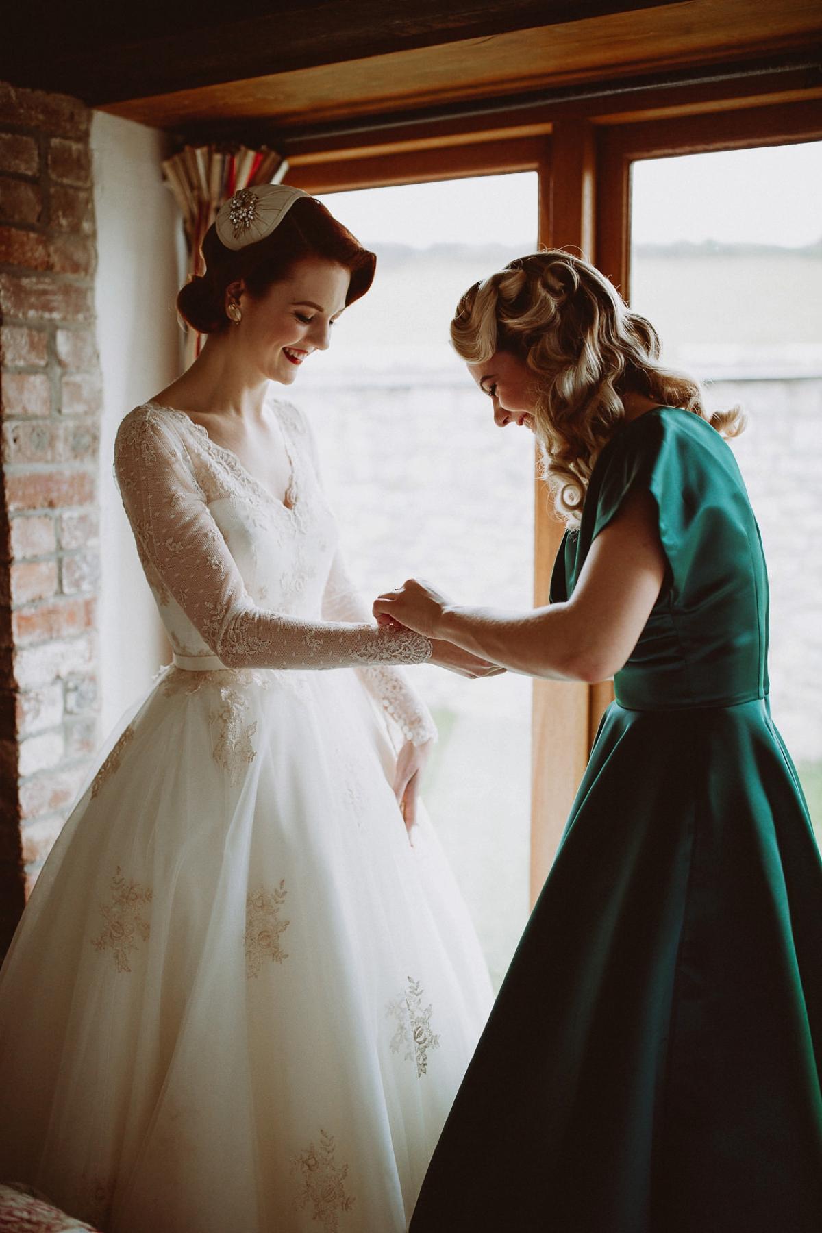 "0fc180ecc6 A tea length LouLou Bridal dress for a vintage themed farm wedding - A  1940 s Inspired. """
