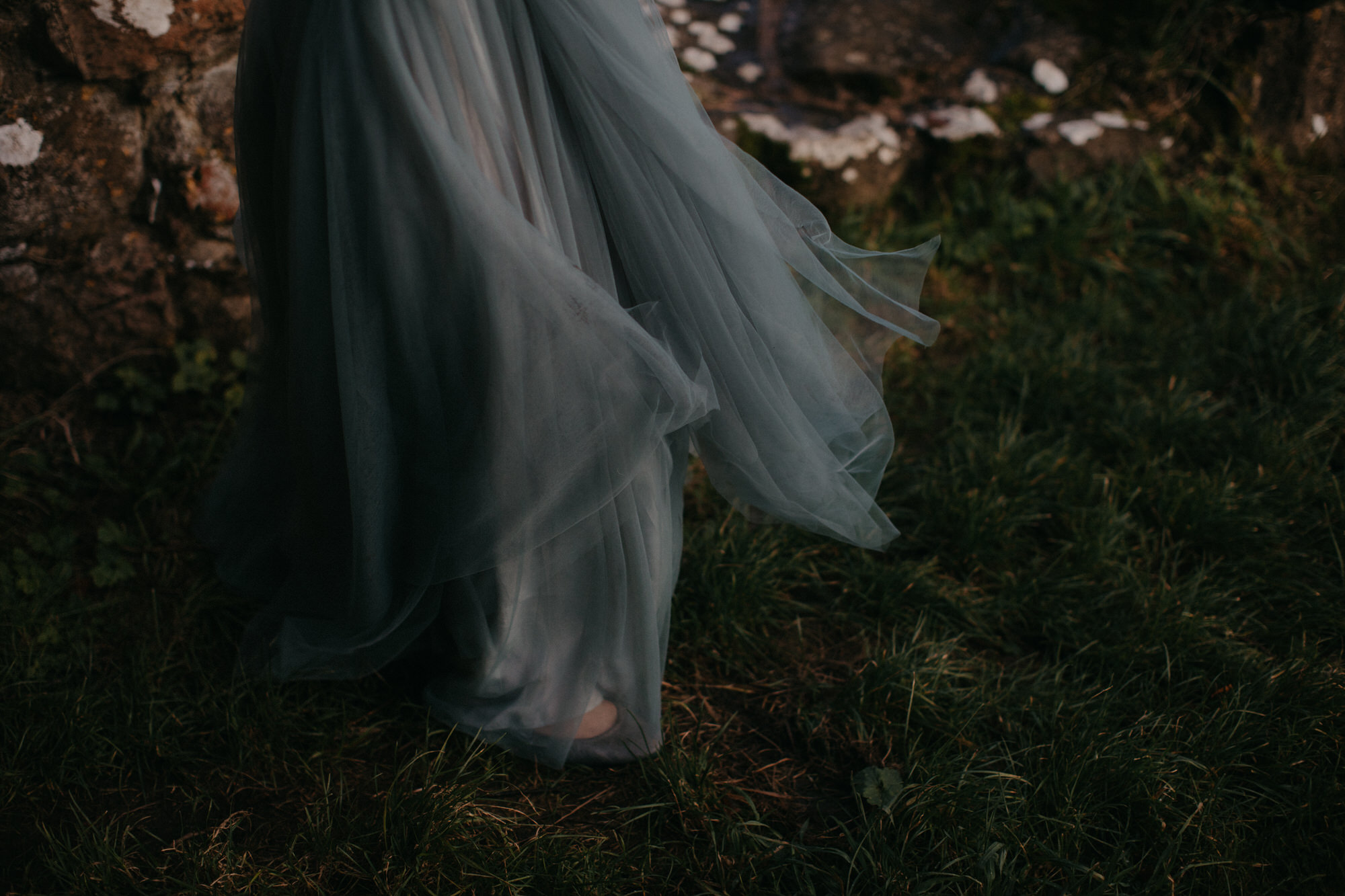 A Soft Blue Grey Tulle Dress For A Romantic Autumn Castle Wedding