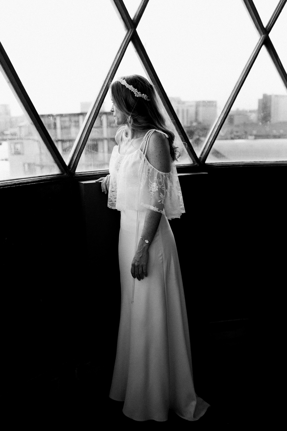 856955fab65 ... A Charlie Brear dress and modern fun East London riverside wedding  images by Claudia Rose Carter ...