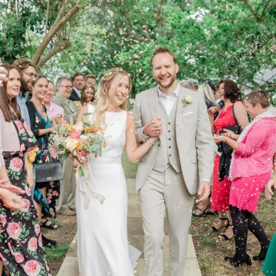 A Chic Pronovias Gown For a Wild and Colourful Garden Wedding at a Medieval Manor House
