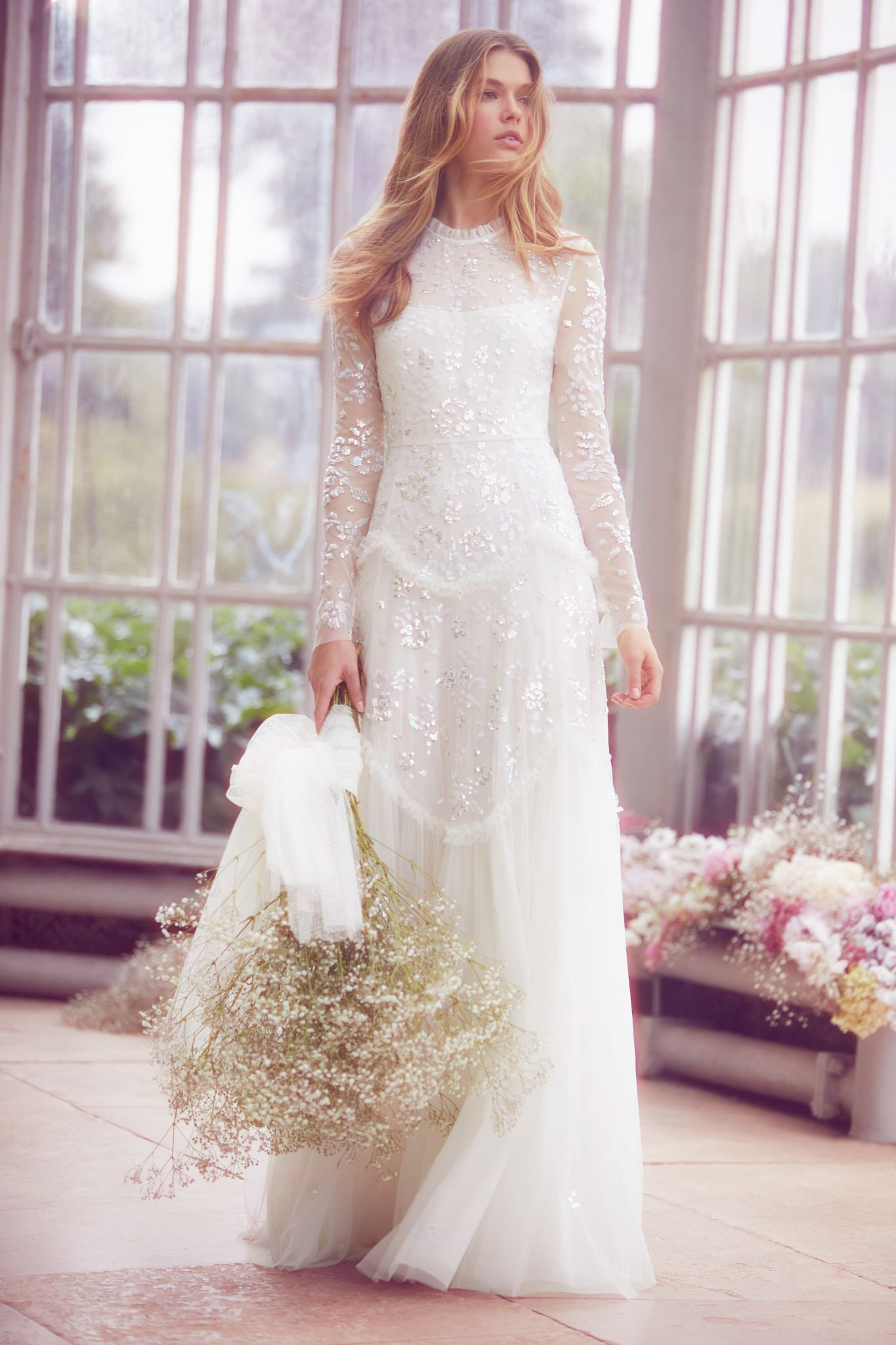 498220c806d Needle Thread London Tiered gloss gown gown ivory SS collection - New  Needle   Thread Wedding