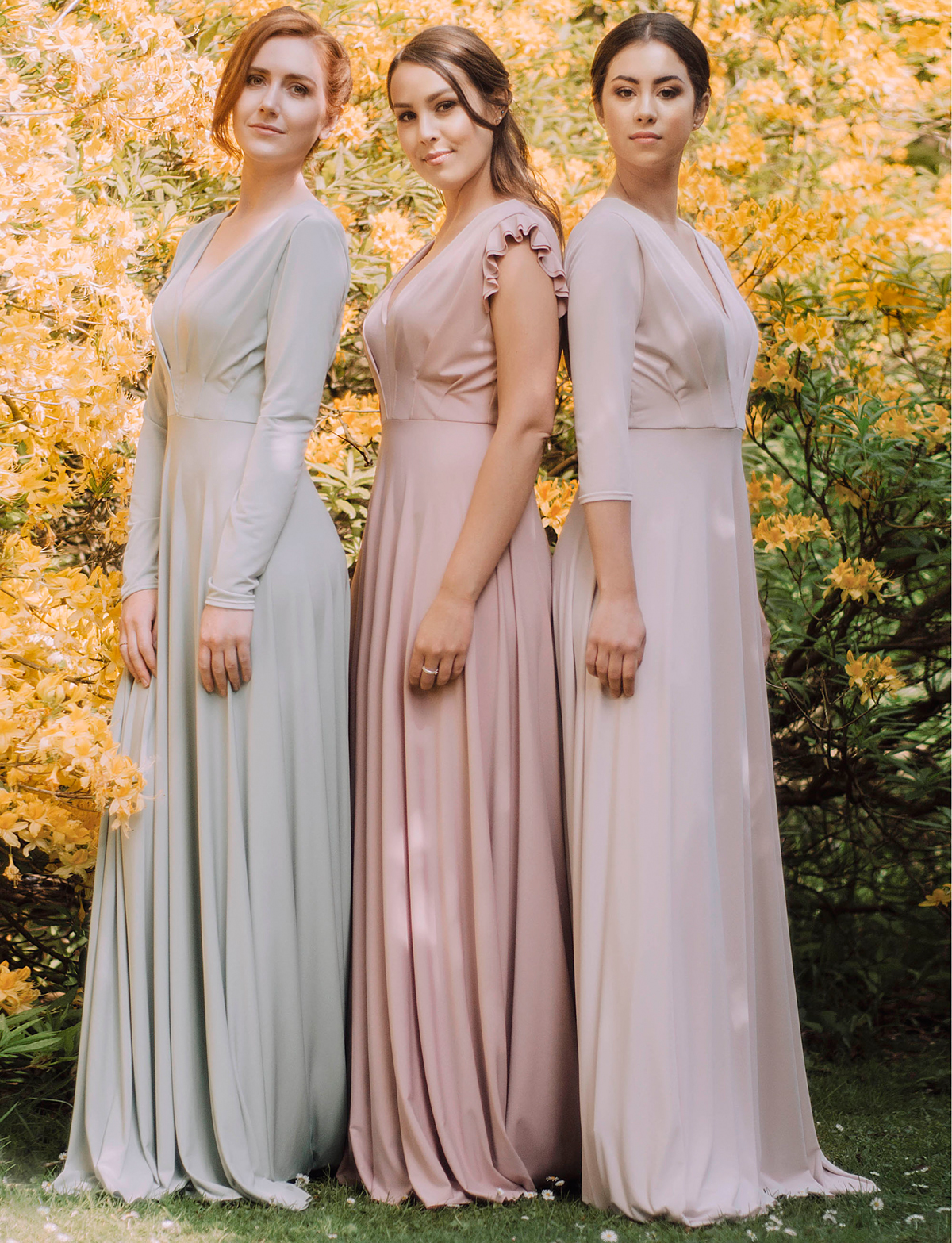c59e6232610 Willow Pearl multiway bridesmaids dresses Fern dresses full length sleeves  in Sage ruffle sleeves in Dusky