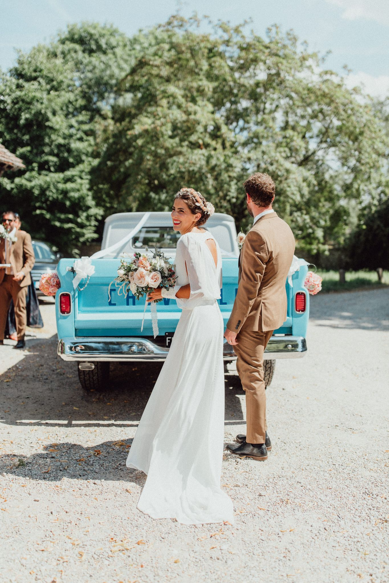 """1f4516e9c5eb boho festival wedding - A 70s Inspired Lillian West Gown and Dried Flower  Crown for a. """""""