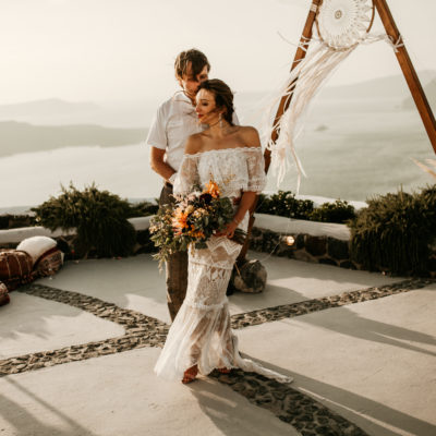 A Grace Loves Lace Gown for a Bohemian Clifftop Wedding in Santorini