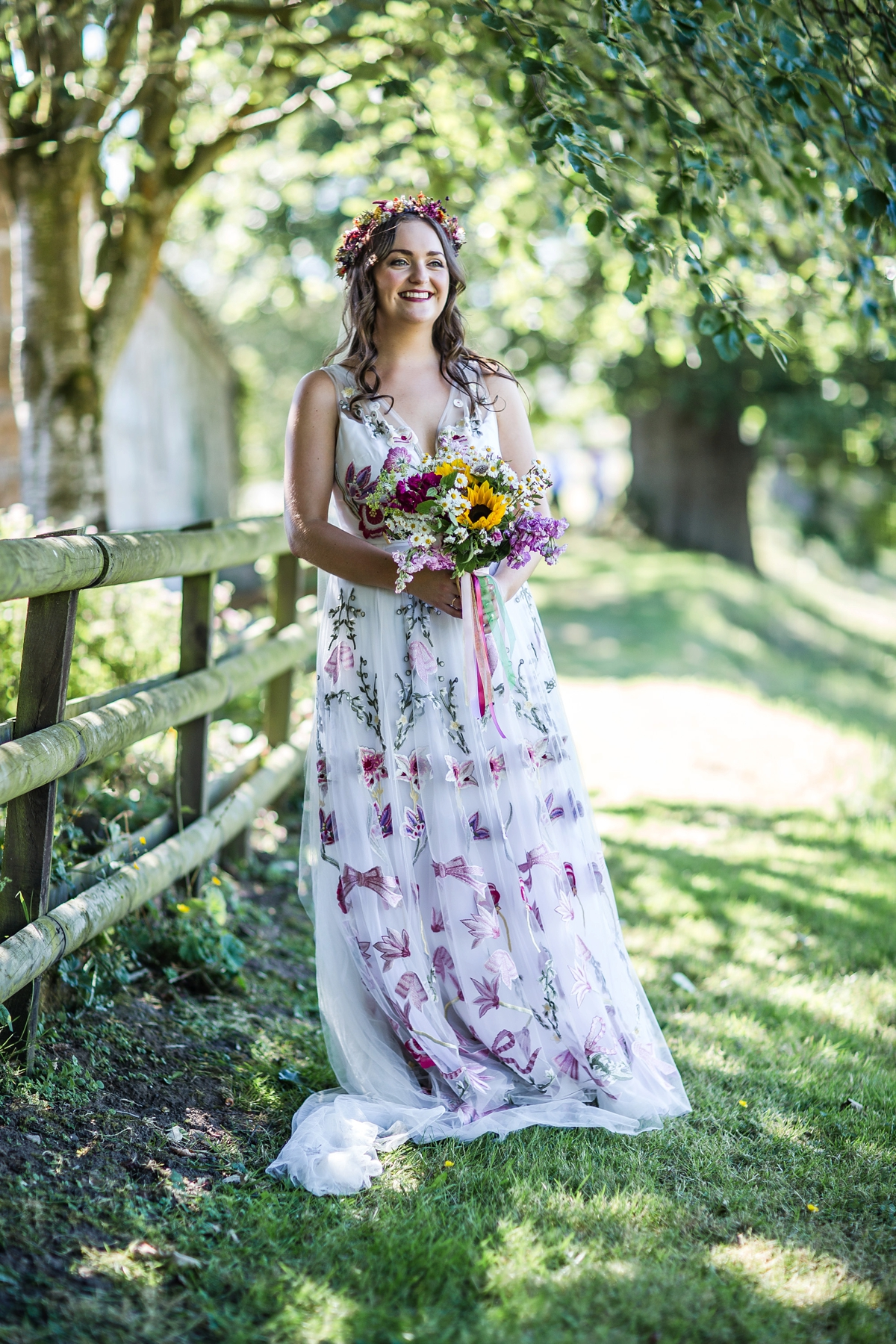 8a77bb91369a Floral Temperley gown for a colourful outdoor Scottish wedding - A 3D Floral  Temperley Dress for