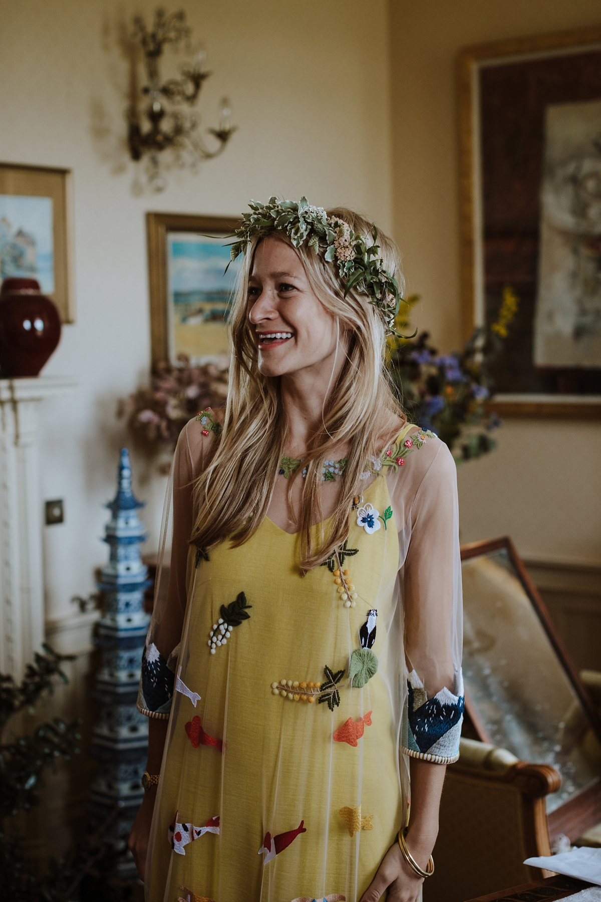 ec054cdaa4f Yellow floral embroidered dress Scottish wedding Caro Weiss Photography - A  Scottish Garden Handfasting + Yellow