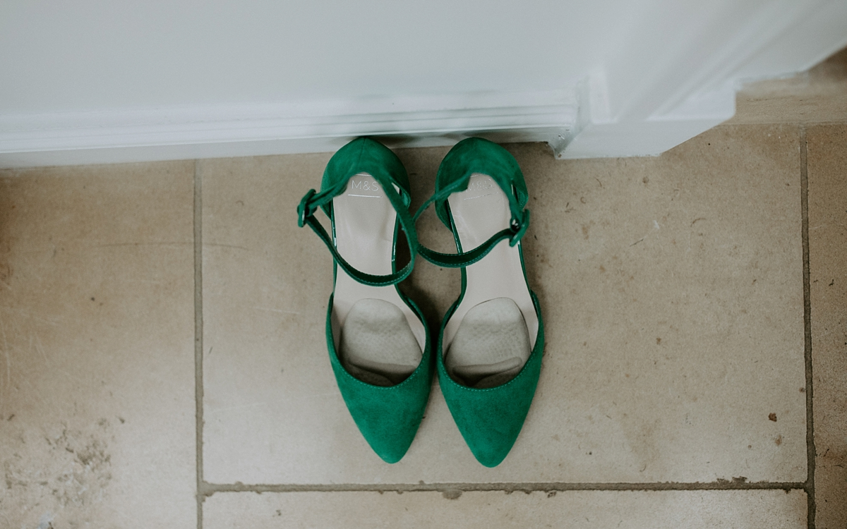 4281640afa8 Scandi inspired River Thames wedding London - Green Wedding Shoes and a  Back Necklace for a ...