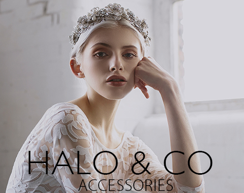 Advert  x halo and co - A Sassi Holford Gown for an Elegant and Edgy Black Tie Wedding