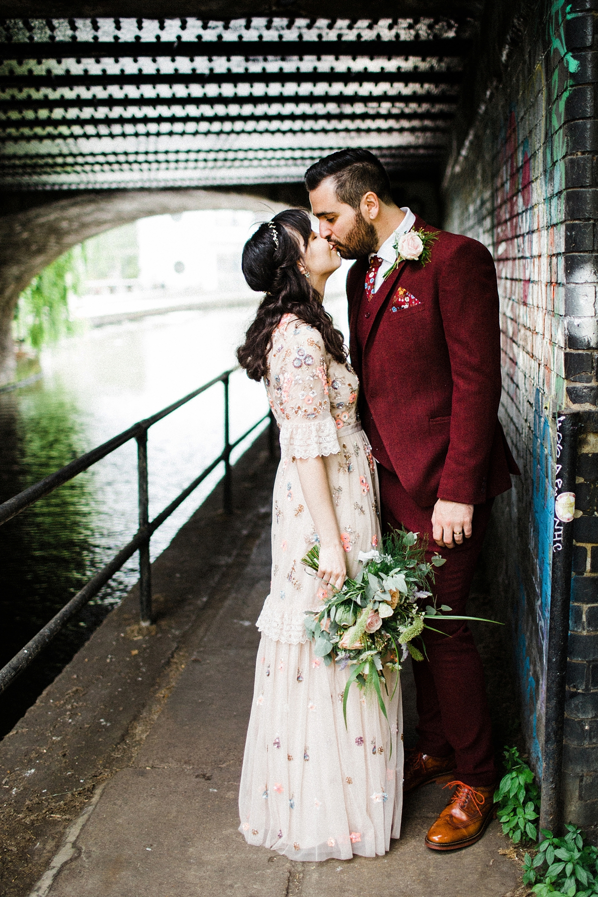 """3c94026f4d7c4 Photography by Claudia Rose Carter · Needle Thread bride Modern London pub  wedding - A Floral Needle & Thread Dress for a. """""""